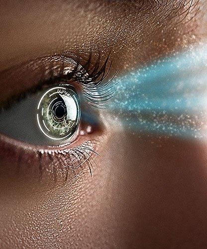 Female eye with biometric implants